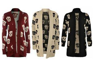 Women Skull Skeleton Cardigan Ladies Open Front Knitted Halloween Cardigan UK