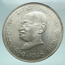 1969 INDIA Mahatma Gandhi LION Genuine Silver 10 Rupee Coin i81306
