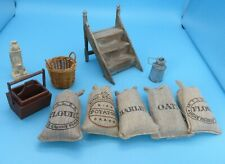 DOLLS' HOUSE MINIATURES - MAINLY OUTDOOR ITEMS - WOODEN STEPS, SACKS, TRUGG ETC