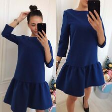 Three Quarter Sleeve Casual Loose Mini Royal Blue Dress + Red Fringe Earring