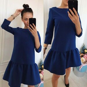 Three Quarter Sleeve Casual Loose Mini Royal Blue Dress fast shipping Au seller