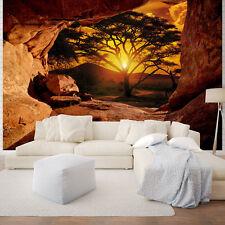PAPIER Fototapeten Fototapete Tapete Natur Afrika Sonne Baum Ausblick 3FX10260P4