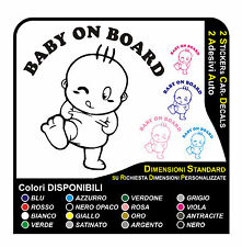 2 adesivi bimbo a bordo - 2 stickers baby on board bambina a bordo adesivi auto