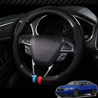 For Ford Taurus Car Steering Wheel Cover Anti-Slip Carbon Fiber Top PVC Leather