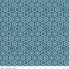 FLANNEL by 1/2 Yard - Lucky Circle Stars Navy - Riley Blake - Patriotic Blue