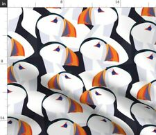 New listing Puffin Persuasion Bright Nature Orange Birds Spoonflower Fabric by the Yard