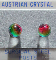 8mm 3/8 inch RAINBOW VM Austrian Crystal Ball Earring Studs on stainless steel
