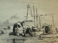 Émile LOUBON (1809-1863) Litho ORIGINALE PAYSAGE AIX PROVENCE MARSEILLE 1850