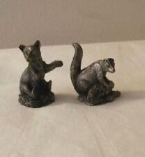 2 1981 Franklin Mint Jane Lunger Pewter Animal Figurines Bear And Skunk