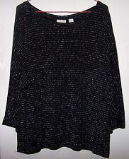 Chico's Womens Black Metallic Stripe Shirt Scoop-Neck Long Sleeves Size 2