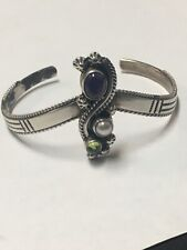 Vintage Native American Sterling 925 Turquoise Peridot,Pearl,Amethyst Signed RB
