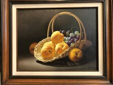Rino Gonzalez Original Oil Painting Still Life Fruits on Canvas, Framed, Signed