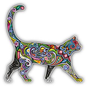 "Cheerful Cat Pattern Car Bumper Sticker Decal ""SIZES"""