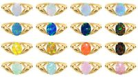 14k Gold Plated Australian Fire Opal Infinity Celtic Silver Birthstone Ring