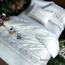 White Silver Pink Cotton Imitate Silk Bedding Set Bed Set Linen Duvet Cover Set
