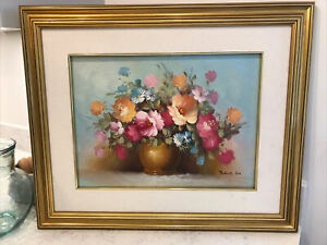 Robert Cox Oil On Canvas Floral Bouquet Art Gold Framed Linen Mount Vintage