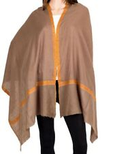 Pure Cashmere Brown Pashmina Embroidered Orange Border Vintage Luxury Royal Soft