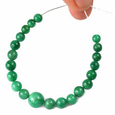 Natural Cabochon Drilled 5mm-10mm /21 Pcs Emerald Round Beads Demi Strand qty
