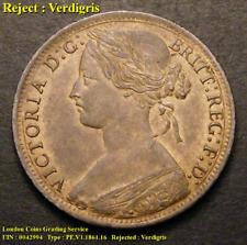 A/UNC 1861 Victorian Penny, verdigris.
