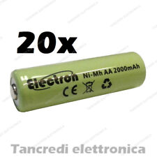 20pz Batteria Stilo AA 2000 mAh mA ricaricabile rechargeable battery Ni-Mh NiMh