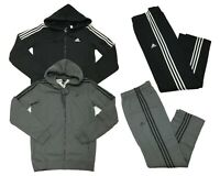 Adidas Mens Essential Cotton 3 Stripe Full Zip Hoodie & Pants Track Suit