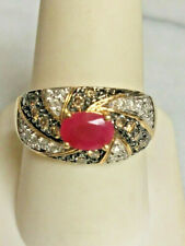 GEMS EN VOGUE 14k YELLOW GOLD  CLEAR AND CHOCOLATE DIAMOND & RUBY RING SIZE 9.25