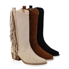 Damen Stiefel Cowboystiefel Wildleder-Optik Western Boots Fransen 832427 Schuhe