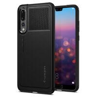 Huawei P20 Pro | Spigen® [Marked Armor] Black Slim Shockproof Case Cover