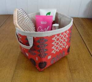 Welsh Blanket Print Small Storage Basket Matt Acrylic Oilcloth red