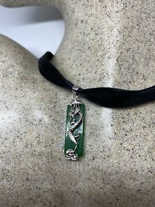 Vintage Jade Dragon Choker White Bronze Deco Pendant Necklace