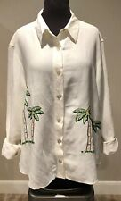 COLDWATER CREEK Women's Embroidered Palm Tree Jacket Shirt Plus Sz 1X