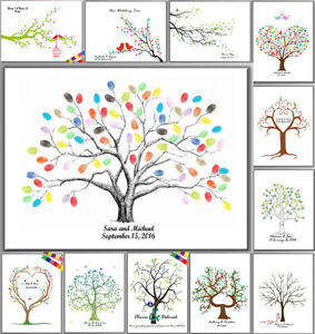 Thumbprint Fingerprint Tree Wedding Sign Guest Book Canvas Painting+Inkpad