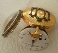 Spindel Taschenuhr 18 Karat Gold, Perlen, signiert, läuft - verge pocket watch