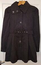 Topshop Polka Dot Black Vintage Belted Mac Corset Swing Coat UK10 38