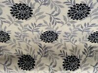 Floral Chenille Grey/Black  Curtain/Upholstery/Craft Fabric