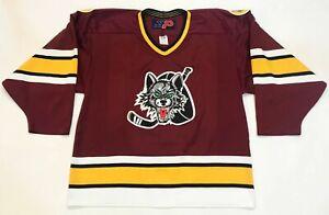 SP Sportswear Chicago Wolves AHL Hockey Jersey Burgundy Man M Canada Sewn blank