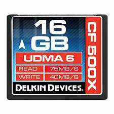 Delkin 16GB 500x Compact Flash Card UDMA 6 Speeds 75MB/s 40MB/s CF Card (5 Pack)