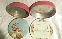 VINTAGE CANDY COOKIE TIN LOT RED ROSES HORSE CARRIAGE