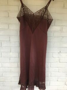 light brown sheer boudoir vintage lingerie slip small 1950s fawn brown slip with pretty lace trim see through lace slip 1950s 50s