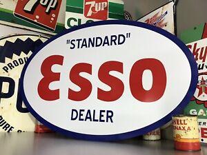 """Antique Vintage Old Style """"Standard"""" Esso Oval Dealer Sign"""