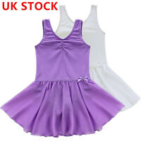 UK Girl Ballet Dance Dress Gymnastics Leotard Skirt Sleeveless Dancewear Costume