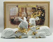 Grandeur Noel Porcelain Deer Christmas Reindeer Family Collector's Edition 1999