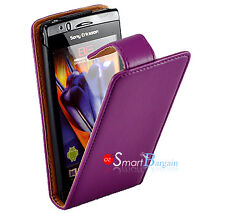 PURPLE Flip Leather Case For SONY ERICSSON XPERIA ARC X12 + Screen Protector