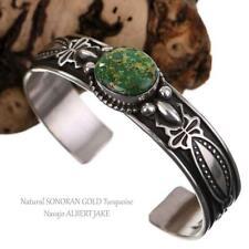 Navajo Turquoise Bracelet Sterling Silver Navajo Albert Jake SONORAN GOLD MENS
