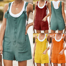 UK Womens Linen Cotton Jumpsuit Dungarees Pocket Shorts Playsuit Overalls Shorts