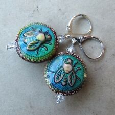 *SJ1* 3D Bee Mood Bead Sterling Silver Dangle Earrings w/ Swarovski Crystal