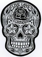 Sugar Skull Live Love Ride AWESOME MC Embroidered Biker BACK Vest Patch LRG-0018