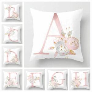 Pink Cushion Cover Up Letter Print Pillow Case Throw Pillowcase Car Home Decor