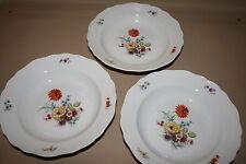 3x Hutschenreuther Maria Theresia Bunte Blume Speise Menü Suppenteller Ø 23 cm