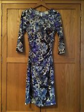 Reiss Zizzi Stretch Floral Dress M 12 Purple Blue Ruched Midi Xmas NYE Party VGC
